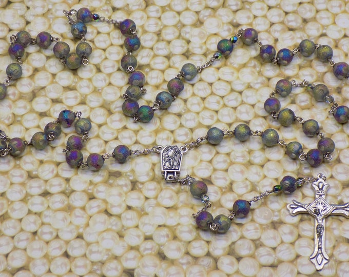 Rainbow Crystal Rosary - Multi Colored 9mm Crystal Laser Cut Beads - Italian Center with Water from Lourdes France - Italian Silver Crucifix