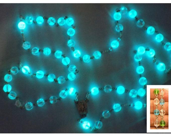 """Multi Color Czech Glass """"Glow in the Dark"""" Rosary - Clear-Green-Aqua Glow in The Dark Glass Beads - Fatima Center -Glow in the Dark Crucifix"""