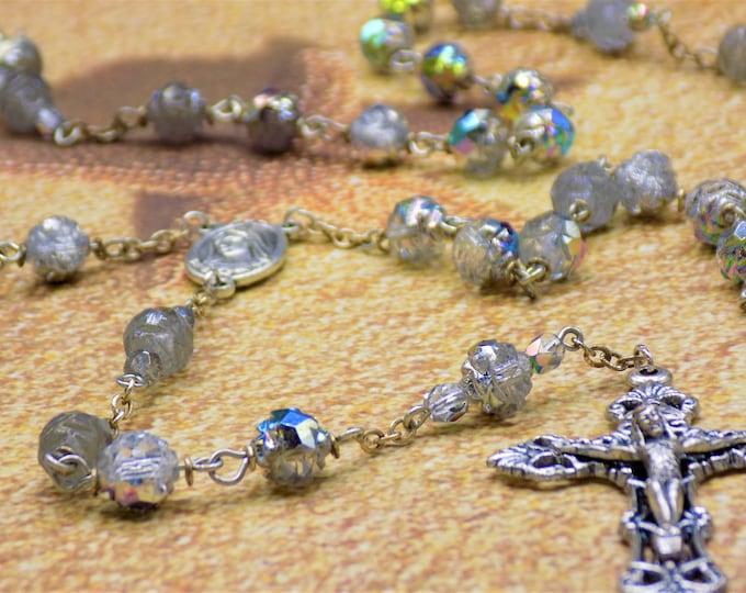 Czech Vitrail Clear Rosebud Rosary - Czech Vitrail Clear Rosebud Beads -OL of Medjugorje Center with Earth -Italian Silver Filigree Crucifix