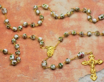 White Cloisonne Rosary - White 8mm Cloisonne Metal Beads - Italian Our Lady of Lourdes Water Center - Italian Filigree Crucifx