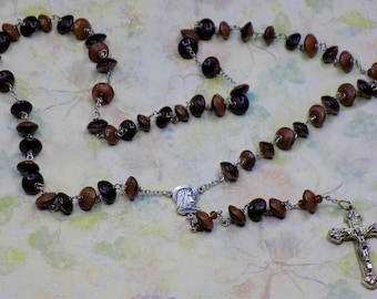 Natural Buri Seed Rosaries - Buri Seed Brown or Gray Beads - Italian Our Lady of Fatima, Portugal Centers - Italian Silver Hearts Crucifixes
