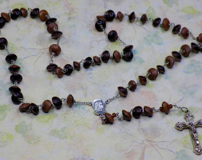 Natural Buri Seed Rosary - Buri Seed Two Tone Brown Beads - Italian Our Lady of Fatima, Portugal Center - Italian Silver Hearts Crucifix