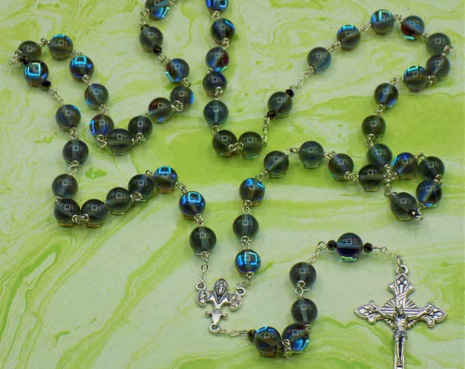 Moonstone Gray Glass Rosary - Moonstone and Gray Glass Beads - Czech Black Rainbow Crystal Beads -Fleur-de-Lis Fiat Center -Italian Crucifix