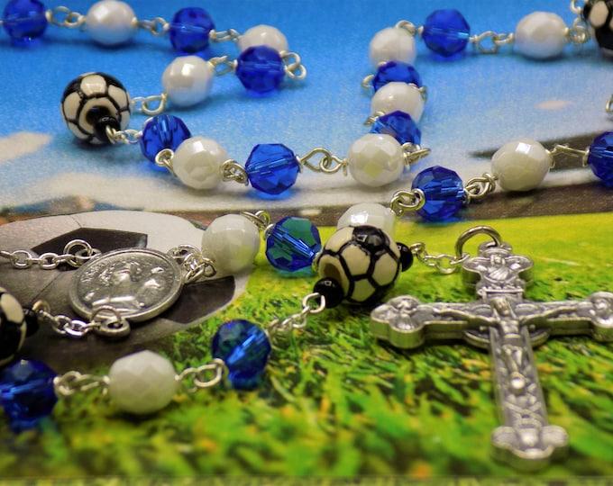 Blue and White Soccer Rosary - Czech Blue & White Glass Beads - Ceramic Soccer Balls -Italian Holy Face Center -Italian Eucharistic Crucifix