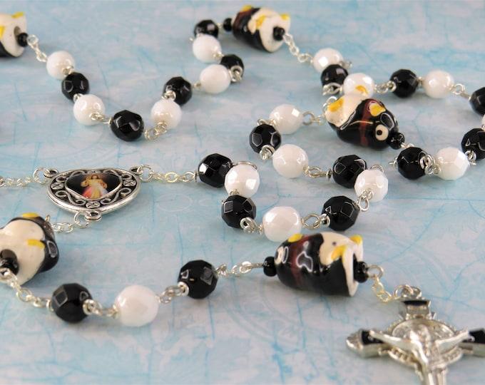 Penguin Rosary - Lamp Work Glass Handmade Penguin Beads - Czech White & Black Glass Beads - Medjugorje-Divine Center  - St Benedict Crucifix