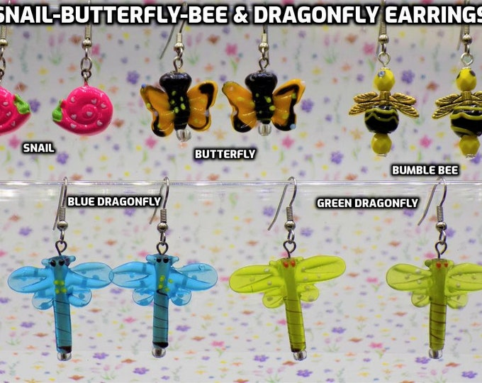 Pink Snails, Butterflies, Bumble Bees & Dragonfly 3D Novelty Earrings