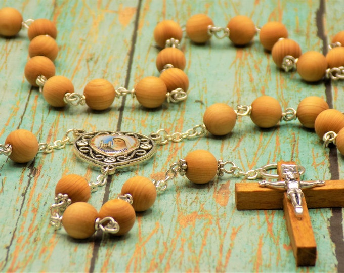 Natural Sandalwood Rosary - Aromatic Natural Sandalwood 8mm Wood Beads - Metal Accent Beads - OL of Medjugorje Center -Italian Wood Crucifix
