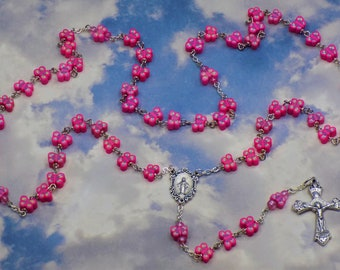 Pink Butterfly Rosary - Colorful Pink Butterfly Polymer Clay Beads - Italian Silver Mary Center - Italian Silver Grapes and Vine Crucifix