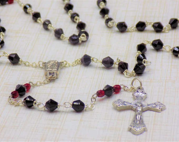 Czech Garnet Rosary - Czech Garnet (Dark Red) 6mm Diamond Cut Beads - Italian Center Contains Water from Lourdes - Italian Grapes Crucifix