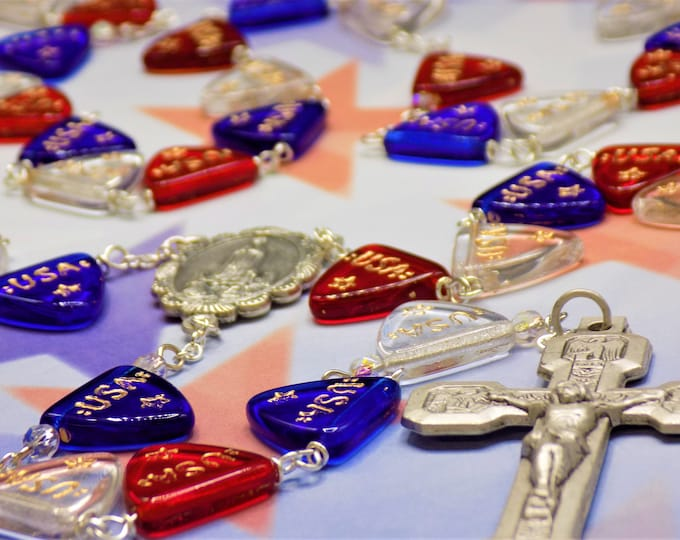 USA Rosary - Czech Red, Clear and Blue Crystal Banner Flag Beads - Italian Our Lady of Fatima Center -Italian Stations of the Cross Crucifix