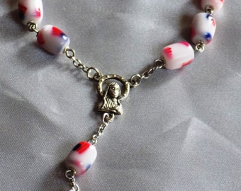 One Decade & Car Rosaries  - US Flag Beads - Purple Glass Pearls - - Green and Yellow Neon - Italian Centers and Crucifixes