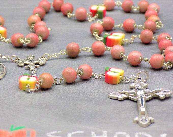 Teacher Rosary - Pink & Silver Beads -Polymer Apple Beads-Fleur-de-Lis Fiat Center-Sunburst Flare Crucifix-St John Baptist De La Salle Medal
