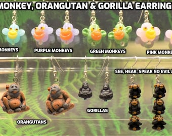 Monkey, Orangutan, and Gorilla Earrings - Lamp Glass Colorful Monkeys - Orangutans - Gorillas - See, Hear & Speak No Evil Monkeys