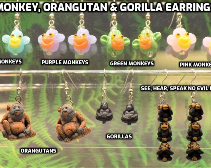Monkey, Orangutan, and Gorilla Earrings - Lamp Glass Colorful Monkeys - Orangutans - Gorillas - See, Hear & Speak No Evil Monkeys