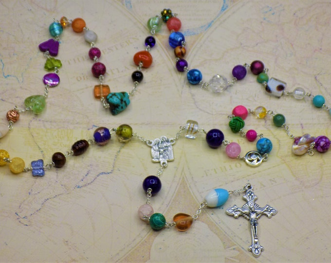 World Peace Rosary -Assorted Beads Coming Together in Prayer for a One of a Kind Rosary- Italian Holy Family Center - Italian Flare Crucifix