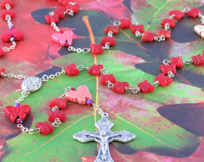 Red Butterfly Rosary - Czech Glass Red Butterfly Beads - Stone Butterflies - Mary & Child Center with Jerusalem Earth - Ital Grapes Crucifix