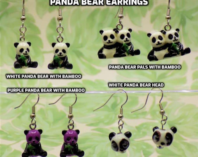 Panda Bear 3D Earrings - White and Black Panda Bear Pals - White & Black Panda Bears - Purple and Black Panda Bears - Panda Bear Heads