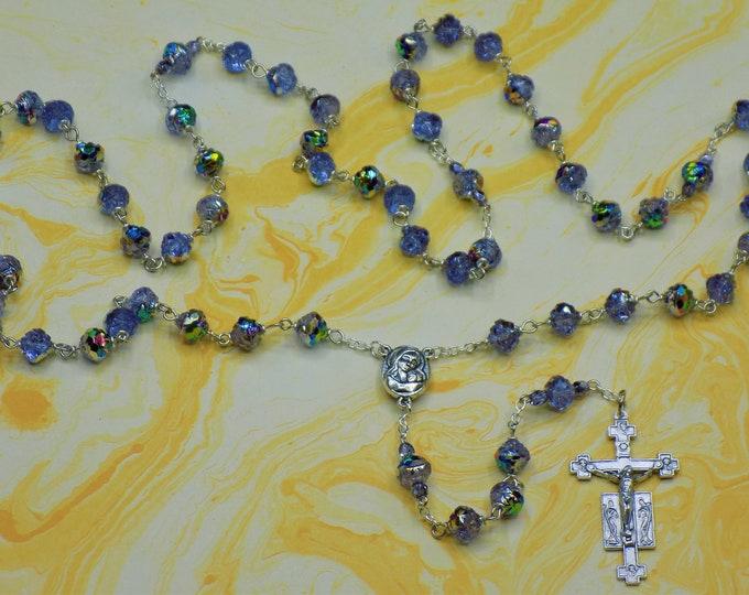 Alexandrite Rosebud Rosary - Czech Alexandrite Rosebud Beads - Mary Center that Contains Earth from Jerusalem-Italian Silver Angels Crucifix