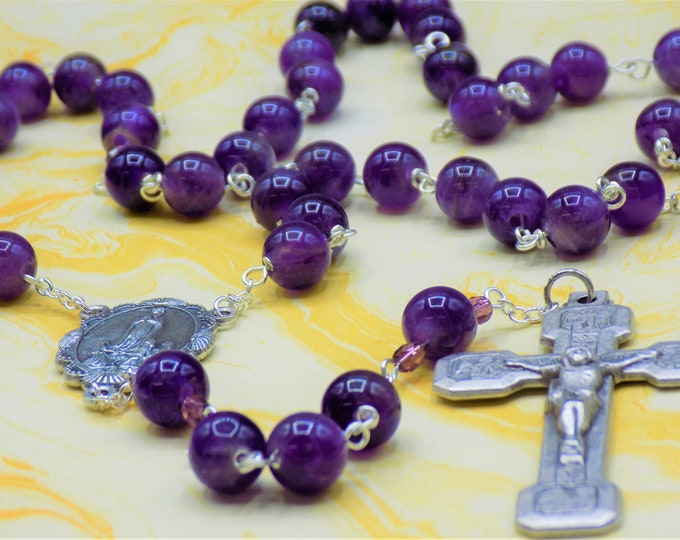 Amethyst Rosary - Semi Precious Amethyst Beads - Czech Beads - Italian Our Lady of Fatima Center - Italian Stations of the Cross Crucifix