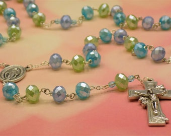 Crystal Pastel Rosary - Painted Faceted Blue, Green & Aqua Glass Beads - Czech Aqua Beads - Miraculous Medal Center -Italian Lilies Crucifix