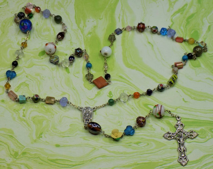 World Peace Rosary - Assorted Beads Coming Together in Prayer - Italian Silver Fatima with Water Centers - Italian Silver Filligree Crucifix