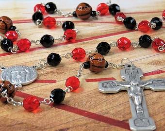 Basketball Rosary - Czech Red & Black Glass Beads - Peru Ceramic Basketballs - Italian Holy Face Center - Italian Stations of Cross Crucifix