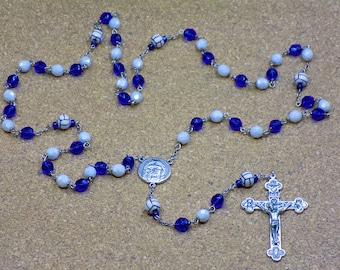 Volleyball Rosaries - Czech Blue & White or Black and White Glass Beads - Ceramic Volleyballs - Holy Face Centers - Italian Crucifixes