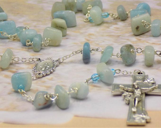 Aquamarine Rosary - Semi Precious Aquamarine Nugget Beads - Czech Accent Beads - Italian Miraculous Mary Center- Italian Flower Crucifix