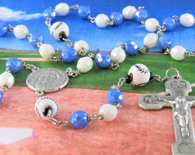 Baseball Blue and White Rosary - Czech Blue and White Glass Beads - Ceramic Baseballs - Italian Holy Face Center - Italian Stations Crucifix