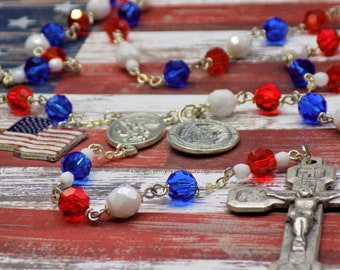 Proud to be American Rosary - Czech Red, White and Blue Crystal Beads - US Flag Charm - St Michael Center - Proud To Be American Charm