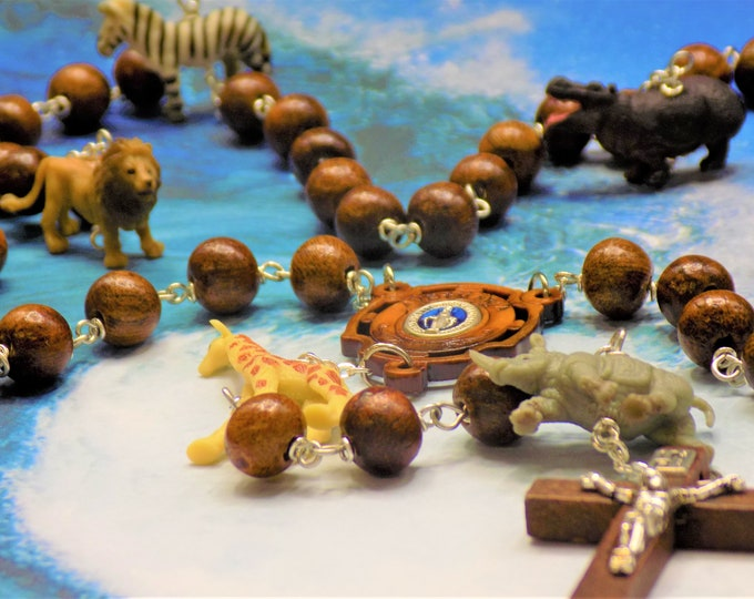 Noah's Ark Rosary -  Rosewood Wood Beads - Hand Painted Soft Rubber Animal Beads - Ave Maria Wood Center - Brown Wood Crucifix