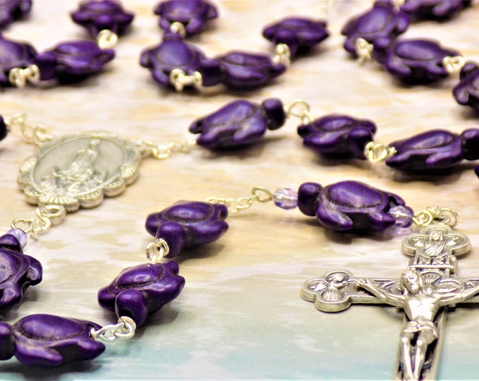 Purple Turtle Stone Rosary - Purple Stone Turtle Beads - Czech Accent Beads - Italian Fatima Center - Italian Silver Eucharistic Crucifix