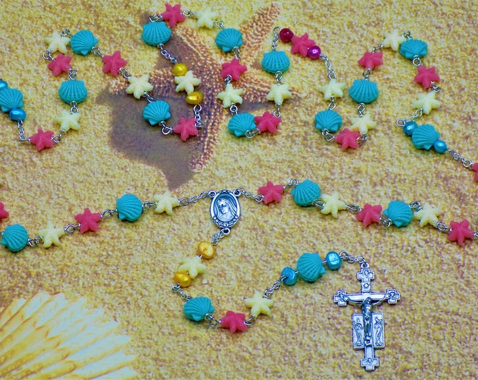 Starfish and Sea Shell Rosary - Resin Starfish & Sea Shell Beads - Mother of Pearl Beads - Italian Medjugorje Center-Italian Angels Crucifix