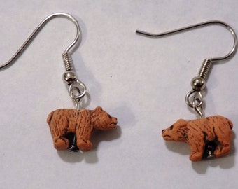 Bear Earrings - Brown Bears Ceramic - Black Bears Ceramic - Polar Bears Ceramic - Brown Bear with Bow Resin