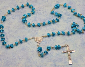 Rose Flower Rosaries - Green or Aqua Metal Rose Flower Beads - Czech Glass Pearl Beads - Our Lady of Fatima, Portugal Crucifix and Center