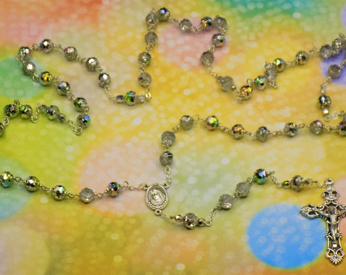 Vitrail Clear Rosebud Rosary - Czech Vitrail Clear Rosebud Beads -Our Lady of Medugorje Center with Earth - Italian Silver Filigree Crucifix