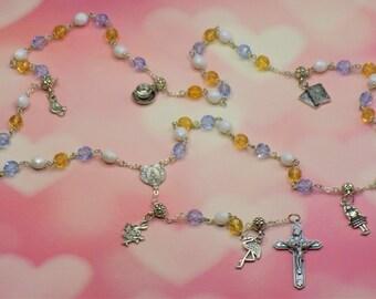 Alice in Wonderland Rosary  - Czech Blue, White and Gold Glass Beads - Alice in Wonderland Charms - Italian Center - Italian Crucifix