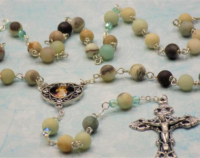 Amazonite Rosary - Semi Precious Amazonite 8mm Beads - Czech Accent Beads - Divine Mercy & Medugorje Color Center -Italian Filigree Crucifix