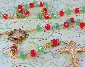 Christmas Rosary - Red and Green Fancy Cut Glass Beads-Austrian Rhinestone Father Beads-Gold Christmas Red & Green Center -Filigree Crucifix