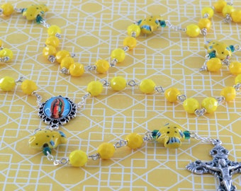 Yellow Fish Rosary - Czech Yellow Crystal Beads -  Ceramic Yellow Fish Beads - Our Lady of Guadalupe Color Center -Italian Filigree Crucifix