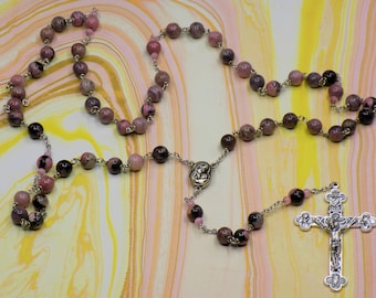 Rhodonite Stone Rosary - Semi Precious 8mm Rhodonite Stone Beads - Mary/Child with Earth Center - Italian Silver Eucharistic Crucifix