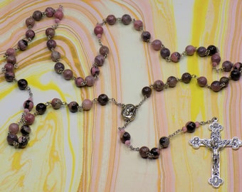 Rhodonite Stone Rosaries - Semi Precious 8mm Rhodonite Stone Beads - Czech Crystal Beads - Italian Silver Centers -Italian Silver Crucifixes