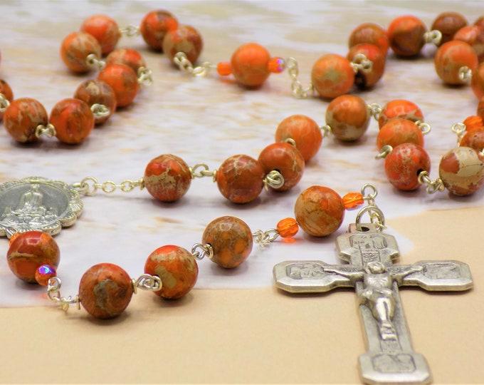Orange Sea Jasper Rosary - Apatite Orange Sea Sediment Imperial Jasper Gemstone Beads - OL Fatima Center - Stations of the Cross Crucifix