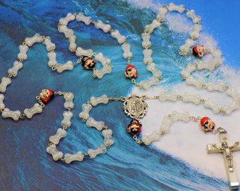 "Pirate ""Arrr"" Glow in The Dark Rosary - Glow in The Dark Glass Bone Shaped Beads - Pirate Beads - Italian Lourdes Center - Luminous Crucifix"