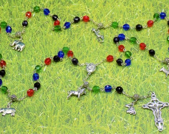 Rosary of Africa - Czech Black, Red, Green & Blue Glass Beads - Pewter Father Beads - African Animal Charms - Mary Center- Italian Crucifix