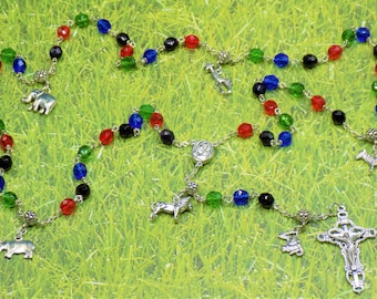 Rosary of Africa Animals - Czech Black, Red, Green & Blue Glass Beads - Pewter Father Beads - Africa Charms - Mary Center- Italian Crucifix