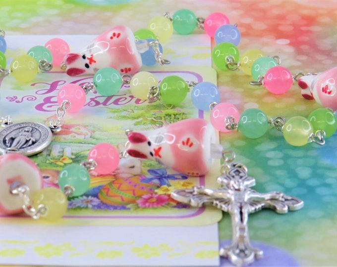 Easter Bunny Pastel Jade Rosary - Semi Precious Pastel Jade Beads - Ceramic Bunny Father Beads - Imm Mary Center - Italian Sunburst Crucifix