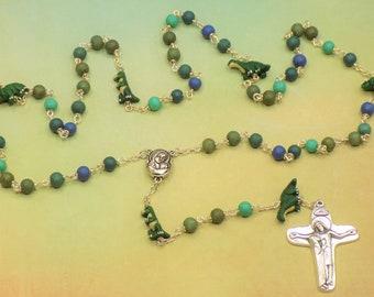 Dinosaur Rosary - Textured Green & Blue Glass Beads - Peru Ceramic Dinosaur Beads - Mary With Earth Center - Italian Jesus and Mary Crucifix