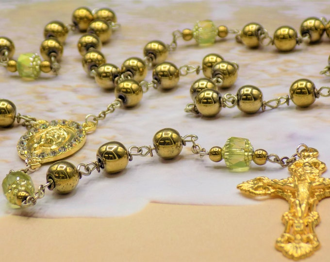 Czech Gold Cathedral and Gold Hematite Rosary - Metallic Gold Hematite Beads - Gold Cathedral Beads - Holy Face Center - Filigree Crucifix