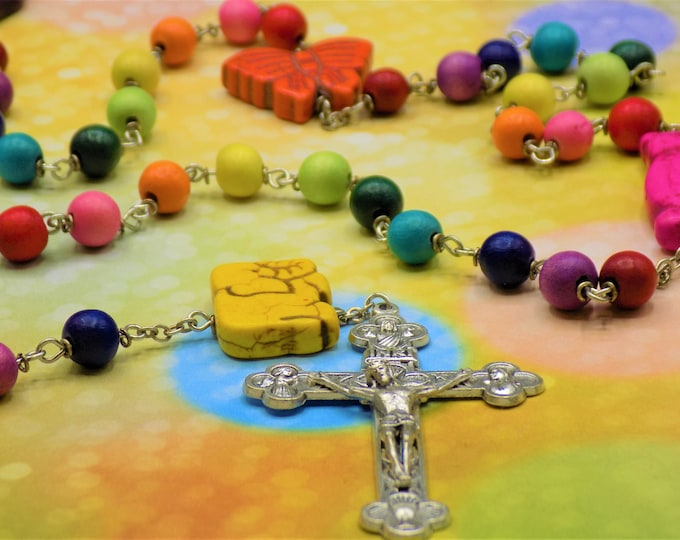 Noah's Ark Rainbow Rosary - Multi-Color Hand-Waxed Cheesewood Beads - Asst. Animal Beads - Mary & Child Center -Italian Eucharistic Crucifix